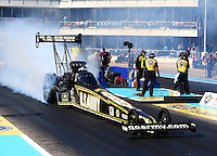 Sept. 22, 2013; Ennis, TX, USA: NHRA top fuel dragster driver Tony Schumacher during the Fall Nationals at the Texas Motorplex. Mandatory Credit: Mark J. Rebilas-