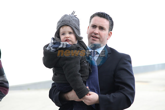 Fine Gael Candidate Damien English arrives at Election 2011 Meath West count at Trim GAA Grounds with his son Harvey...(Photo credit should read Jenny Matthews/www.newsfile.ie)....This Picture has been sent you under the conditions enclosed by:.Newsfile Ltd..The Studio,.Millmount Abbey,.Drogheda,.Co Meath..Ireland..Tel: +353(0)41-9871240.Fax: +353(0)41-9871260.GSM: +353(0)86-2500958.email: pictures@newsfile.ie.www.newsfile.ie.
