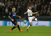 Tottenham Hotspur's Ben Davies and Internazionale's Radja Nainggolan<br /> <br /> Photographer Rob Newell/CameraSport<br /> <br /> UEFA Champions League Group B - Tottenham Hotspur v Internazionale - Wednesday 28th November 2018 - Wembley Stadium - London<br />  <br /> World Copyright © 2018 CameraSport. All rights reserved. 43 Linden Ave. Countesthorpe. Leicester. England. LE8 5PG - Tel: +44 (0) 116 277 4147 - admin@camerasport.com - www.camerasport.com