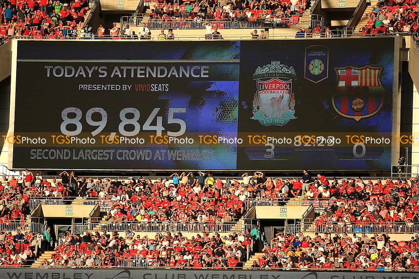Second largest record crowd at Wembley during Liverpool vs FC Barcelona, International Champions Cup Football at Wembley Stadium on 6th August 2016