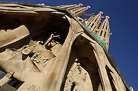 Passion façade, completed late 1980s by the sculptor Josep Maria Subirachs, La Sagrada Familia, Roman Catholic basilica, Barcelona, Catalonia, Spain, built by Antoni Gaudí (Reus 1852 ? Barcelona 1926) from 1883 to his death. Still incomplete. Picture by Manuel Cohen