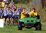 BROOKINGS, SD - SEPTEMBER 24: Marissa Shady takes a selfie while on the gator that leads the runners at the 2016 SDSU Classic Saturday morning at Edgebrook Country Club in Brookings. (Photo by Dave Eggen/Inertia)