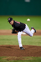 Batavia Muckdogs relief pitcher Martin Anderson (49) delivers a pitch during a game against the Auburn Doubledays on June 28, 2018 at Dwyer Stadium in Batavia, New York.  Auburn defeated Batavia 14-9.  (Mike Janes/Four Seam Images)