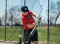NWA Democrat-Gazette/BEN GOFF @NWABENGOFF<br /> Brayden Bice, a freshman at Bentonville West High, takes a hitting lesson from Curt Yarrington (not pictured), a former baseball assistant coach at Bentonville High and currently the golf coach at Bentonville West, Wednesday, March, 21, 2018, at Memorial Park in Bentonville.