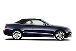 Passenger side profile view of a 2013 Audi A5 Convertible with the top up...