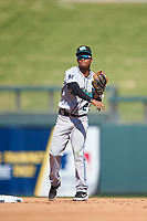 Salt River Rafters second baseman Jose Devers (2), of the Miami Marlins organization, throws to first base during the Arizona Fall League Championship Game against the Surprise Saguaros on October 26, 2019 at Salt River Fields at Talking Stick in Scottsdale, Arizona. The Rafters defeated the Saguaros 5-1. (Zachary Lucy/Four Seam Images)