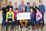 Members of Abbeyfeale Cycling Club  presented a cheque of &euro;3,200 last Wednesday night in the Devon Inn Hotel Templeglantine to The Abbeyfeale Day Care Centre and The Mid Western Cancer Foundation which represented the proceeds of their charity sportive, The Abbey Classic, held last August. <br /> The club would like to thank everyone who helped make this such a successful event again this year and to all who supported them in aid of such wonderful charities.<br /> Front L &ndash; R:Brendan Brosnan, Aoife Keogh (Abbeyfeale Day Care Centre), Edmond O&rsquo;Donoghue (club chairman), Maria Woulfe (Mid Western Cancer Foundation), Sarah McGroary<br /> Back L &ndash; R:Declan Murphy, Seamus O&rsquo;Connell, Tom White, Pat Donovan, Mike Cahill, Dan McCarthy, Gerard Ward