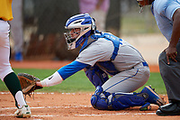 Central Connecticut State Blue Devils catcher Nick Garland (10) awaits the pitch during a game against the North Dakota State Bison on February 23, 2018 at North Charlotte Regional Park in Port Charlotte, Florida.  North Dakota State defeated Connecticut State 2-0.  (Mike Janes/Four Seam Images)