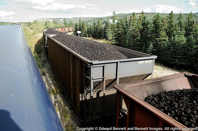The Alaska Railroad's Denali Star train goes past a coal train at Healy, Alaska.