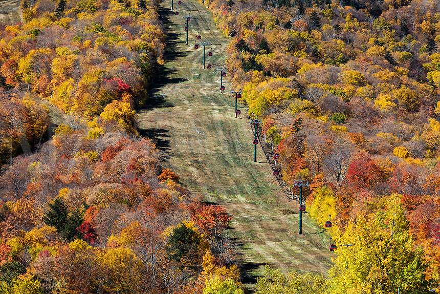 Autumn gondola sightseeing excursion at Stowe Mountain.