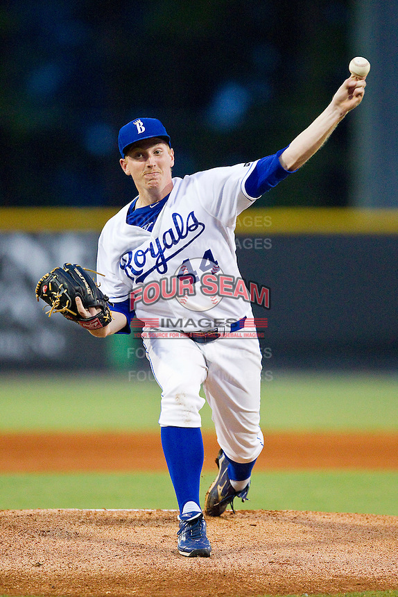 Burlington Royals starting pitcher Patrick Conroy (44) in action against the Kingsport Mets at Burlington Athletic Park on August 20, 2012 in Burlington, North Carolina.  The Royals defeated the Mets 5-4 in 12 innings.  (Brian Westerholt/Four Seam Images)