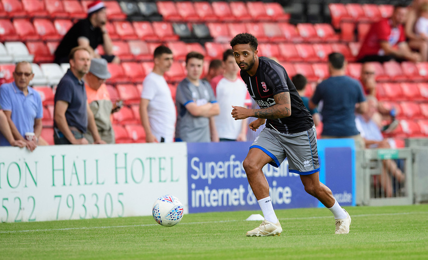 Lincoln City's Bruno Andrade during the pre-match warm-up<br /> <br /> Photographer Chris Vaughan/CameraSport<br /> <br /> Football Pre-Season Friendly - Lincoln City v Stoke City - Wednesday July 24th 2019 - Sincil Bank - Lincoln<br /> <br /> World Copyright © 2019 CameraSport. All rights reserved. 43 Linden Ave. Countesthorpe. Leicester. England. LE8 5PG - Tel: +44 (0) 116 277 4147 - admin@camerasport.com - www.camerasport.com