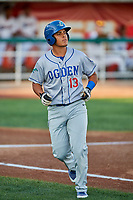 Luis Paz (13) of the Ogden Raptors during the game against the Orem Owlz at Home of the Owlz on September 11, 2017 in Orem, Utah. Ogden defeated Orem 7-3 to win the South Division Championship. (Stephen Smith/Four Seam Images)