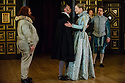 London, UK. 25.02.2014.  Shakespeare's Globe presents THE KNIGHT OF THE BURNING PESTLE, directed by Adele Thomas, in the Sam Wanamaker Playhouse. Picture shows: , Paul Rider (Old Merrythought), John Dougall (Venturewell), Sarah MacRae (Luce), Alex Waldmann (Jasper),  Hannah McPake (Mistress Merrythought). Photograph © Jane Hobson.