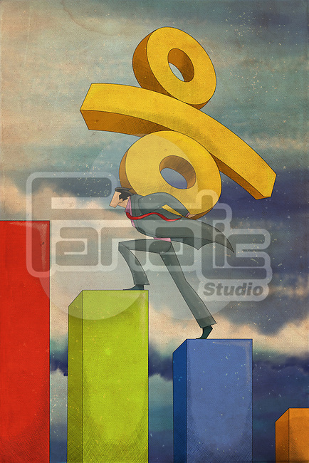 Illustrative image of businessman with percentage sign climbing on bar graph representing rise in interest