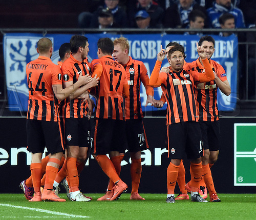 25.02.2016. Gelsenkirchen, Germany. Europa League Round of 32 Second Leg soccer match between Schalke 04 and FC Shakhtar Donetsk in the Veltins Arena in Gelsenkirchen, Germany. Donetsk celebrate after the 1-0 goal from Marl