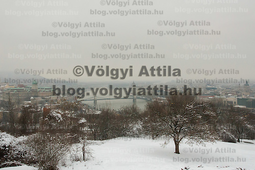 View of the city central from a snow covered hill top in Budapest, Hungary on January 19, 2013. ATTILA VOLGYI