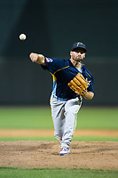 Myrtle Beach Pelicans relief pitcher Craig Brooks (5) delivers a pitch to the plate against the Winston-Salem Dash at BB&T Ballpark on May 11, 2017 in Winston-Salem, North Carolina.  The Pelicans defeated the Dash 9-7.  (Brian Westerholt/Four Seam Images)