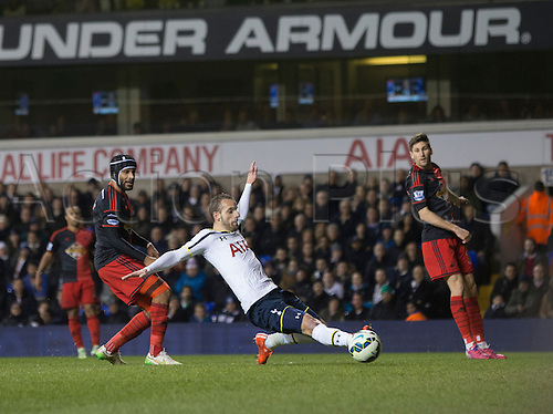 04.03.2015.  London, England. Barclays Premier League. Tottenham Hotspur versus Swansea City. Tottenham Hotspur's Roberto Soldado is inches away from connecting with the cross.