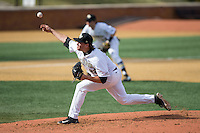 Wake Forest Demon Deacons starting pitcher Will Craig (22) in action against the Miami Hurricanes at Wake Forest Baseball Park on March 21, 2015 in Winston-Salem, North Carolina.  The Hurricanes defeated the Demon Deacons 12-7.  (Brian Westerholt/Four Seam Images)