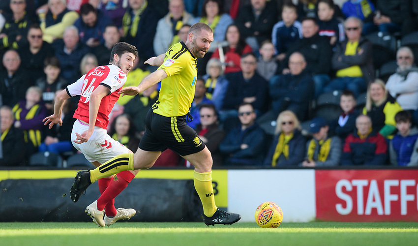 Fleetwood Town's Ashley Nadesan vies for possession with Burton Albion's Jake Buxton<br /> <br /> Photographer Chris Vaughan/CameraSport<br /> <br /> The EFL Sky Bet League One - Saturday 23rd February 2019 - Burton Albion v Fleetwood Town - Pirelli Stadium - Burton upon Trent<br /> <br /> World Copyright © 2019 CameraSport. All rights reserved. 43 Linden Ave. Countesthorpe. Leicester. England. LE8 5PG - Tel: +44 (0) 116 277 4147 - admin@camerasport.com - www.camerasport.com