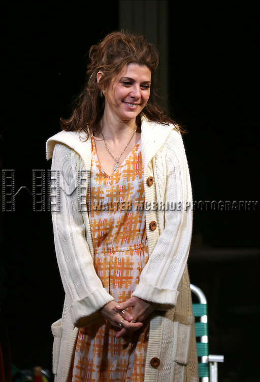 Marisa Tomei during the Broadway Opening Night Performance Curtain Call for 'The Realistic Joneses'  at the Lyceum Theatre on April 6, 2014 in New York City.