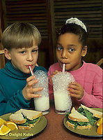 BH22-055x  Bubbles - children blowing bubbles in milk