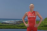 KONA-KAILUA - OCTOBER 11:  World Champions Daniella Ryf of Switzerland and Jan Frodeno of Germany pose for portraits  after the 2015 Ironman World Championships presented by GoPro in Kailua-Kona, Hawaii on October 11, 2015. (Photo by Donald Miralle)