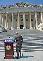 United States Senate Minority Leader Harry Reid (Democrat of Nevada) looks up the steps as he awaits the arrival of other Democratic members of the US House of Representatives and US Senate as they assemble on the East Steps of the US Capitol to call on Republican leadership in both legislative bodies to schedule votes on funding to combat the Zika Virus, to prohibit people on the federal &quot;no fly&quot; list from purchasing guns, and to conduct confirmation hearings and schedule a vote on the confirmation of Judge Merrick Garland as Associate Justice of the US Supreme Court in Washington, DC on Thursday, September 8, 2016.<br /> Credit: Ron Sachs / CNP /MediaPunch