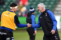 Francois Louw of Bath Rugby and Director of Rugby Todd Blackadder. Heineken Champions Cup match, between Bath Rugby and Wasps on January 12, 2019 at the Recreation Ground in Bath, England. Photo by: Patrick Khachfe / Onside Images
