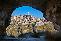 "Matera view across ""la Gravina"" ravine to the Sassi of Matera from inside a Sassi cave, Basilicata, Italy. A UNESCO World Heritage site."