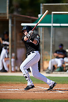 GCL Marlins designated hitter Chad Wallach (49) follows through on a swing during a game against the GCL Cardinals on August 4, 2018 at Roger Dean Chevrolet Stadium in Jupiter, Florida.  GCL Marlins defeated GCL Cardinals 6-3.  (Mike Janes/Four Seam Images)