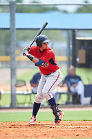 GCL Twins third baseman Roni Tapia (32) at bat during the first game of a doubleheader against the GCL Rays on July 18, 2017 at Charlotte Sports Park in Port Charlotte, Florida.  GCL Twins defeated the GCL Rays 11-5 in a continuation of a game that was suspended on July 17th at CenturyLink Sports Complex in Fort Myers, Florida due to inclement weather.  (Mike Janes/Four Seam Images)