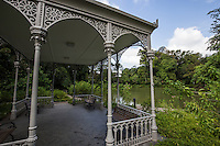 Gazebo at Swan Lake, Singapore Botanic Garden - Made of cast iron with detailed etchings on her beams, stands proudly at the edge of the lake.<br />