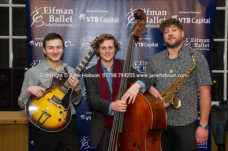 London, UK. 15.04.2014. Eifman Ballet after-party on press night for the opening of Rodin, Sky Bar, London Coliseum. Pictured: The Jazz Trio. Photograph © Jane Hobson.