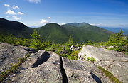 View of mountain landscape from along the Mittersill-Cannon Trail on Mittersill Mountain in the New Hampshire White Mountains during the summer months.