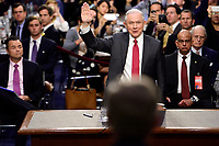 "United States Attorney General Jeff Sessions is sworn-in to give testimony before the US Senate Select Committee on Intelligence to  ""examine certain intelligence matters relating to the 2016 United States election"" on Capitol Hill in Washington, DC on Tuesday, June 13, 2017.  In his prepared statement Attorney General Sessions said it was an ""appalling and detestable lie"" to accuse him of colluding with the Russians. Photo Credit: Melina Mara/CNP/AdMedia"