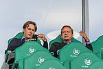 09.09.2017, Volkswagen Arena, Wolfsburg, GER, 1.FBL, VfL Wolfsburg vs Hannover 96<br /> <br /> im Bild<br /> Gerhard Zuber (Sportlicher Leiter Hannover 96) neben Horst Heldt (Sportdirektor / Manager Sport Hannover 96) auf VIP Trib&uuml;ne, Heldt raucht eine Zigarette vor dem Spiel auf Trib&uuml;ne, <br /> <br /> Foto &copy; nordphoto / Ewert