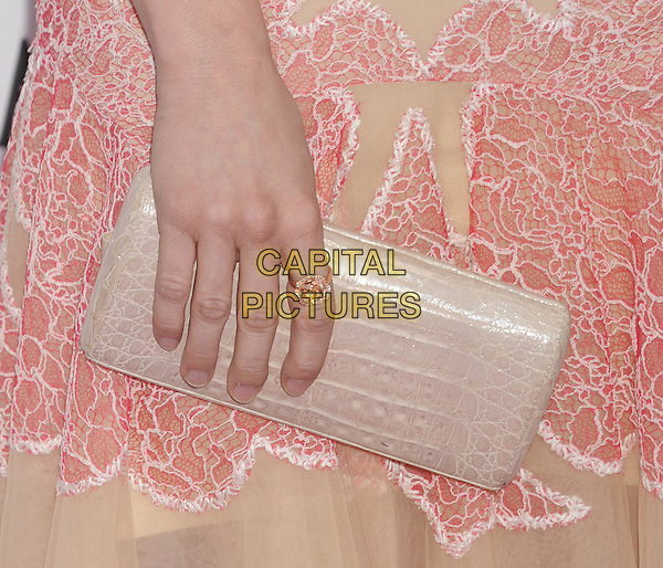 Brittany Snow's clutch bag.2013 Film Independent Spirit Awards - Arrivals held at Santa Monica Beach..Santa Monica, California, USA,.23rd February 2013..indy indie indies indys beige nude hand ring rose gold flower   .CAP/ROT/TM.©Tony Michaels/Roth Stock/Capital Pictures