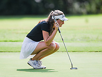 NWA Democrat-Gazette/CHARLIE KAIJO Bentonville girls golfer, Lilly Thomas, lines her putt during a golf tournament, Thursday, September 6, 2018 at the Bella Vista Country Club in Bella Vista. <br />