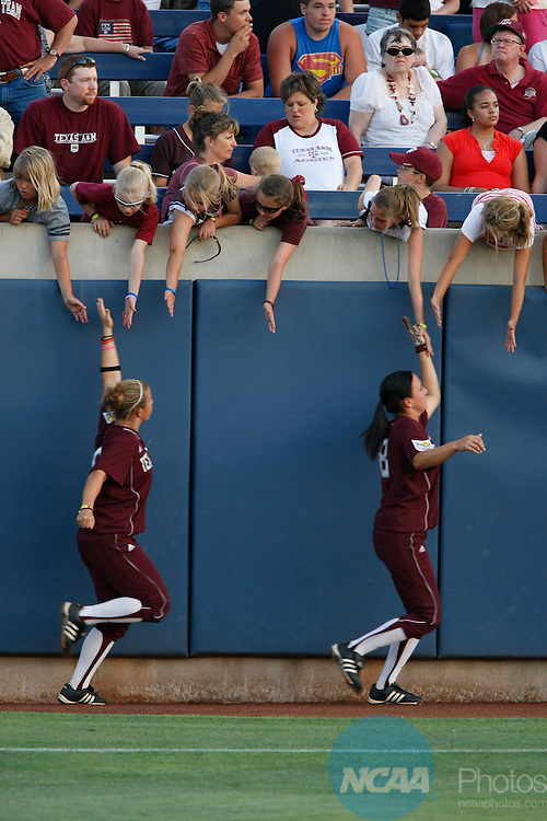 2 JUNE 2008:  Texas A&M University takes on Arizona State University during the Division I Women's Softball Championship held at ASA Hall of Fame Stadium in Oklahoma City, OK.  Stephen Pingry/NCAA Photos