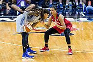 Washington, DC - Sept 17, 2017: Washington Mystics guard Natasha Cloud (9) plays defense during playoff game between the Mystics and Lynx at the Verizon Center in Washington, DC. (Photo by Phil Peters/Media Images International)