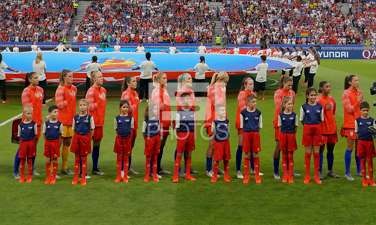 DECINES-CHARPIEU, FRANCE - JULY 02: USWNT starting eleven during a 2019 FIFA Women's World Cup France Semi-Final match between England and the United States at Groupama Stadium on July 02, 2019 in Decines-Charpieu, France.