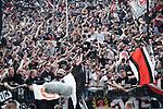 14.04.2018, BayArena, Leverkusen , GER, 1.FBL., Bayer 04 Leverkusen vs. Eintracht Frankfurt<br /> im Bild / picture shows: <br /> Torjubel / Jubel /    Fans Frankfurt  1:0 <br /> <br /> <br /> Foto &copy; nordphoto / Meuter