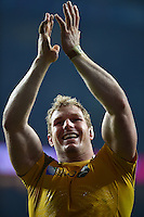 David Pocock of Australia celebrates with the crowd after the match. Rugby World Cup Pool A match between England and Australia on October 3, 2015 at Twickenham Stadium in London, England. Photo by: Patrick Khachfe / Onside Images