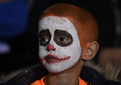 31st October 2017, Madejski Stadium, Reading, England; EFL Championship football, Reading versus Nottingham Forest; A young Reading fan enjoys Halloween