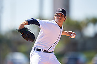 Detroit Tigers pitcher Max Green during a Minor League Spring Training game against the Atlanta Braves on March 22, 2018 at the TigerTown Complex in Lakeland, Florida.  (Mike Janes/Four Seam Images)