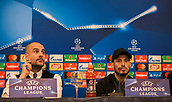 31st October 2017, San Paolo Stadium, Naples, Italy; UEFA Champions League; Pre Match Press Conference; SSC Napoli versus Manchester City; Midfielder David Silva of Manchester City and Head Coach Josep Guardiola of Manchester City talk during the pre match press conference