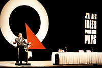 Montreal (Qc) CANADA, August 20, 1993,<br /> File Photo -<br /> <br /> Parti Quebecois  Leader Jacques Parizeau<br /> adress the audience  <br /> at the PQ convention in Montreal, August 20, 1993<br /> <br /> Photo by Pierre Roussel / Images Distribution