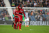 30th September 2017, The Hawthorns, West Bromwich, England; EPL Premier League football, West Bromwich Albion versus Watford; Abdoulaye Doucouré of Watford celebrates scoring in the 37th minute to get a goal back